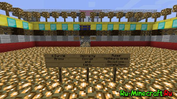 [Map] Minecraft - 4 Survial Arena - интересная карта с PVP уклоном