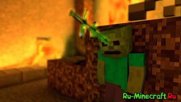 Убица зомби, качественное небольшое видео о том как стив скрафтил супер меч