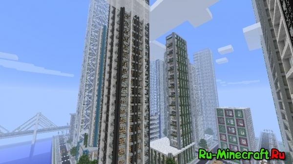 [Map] Большой город с небоскрёбами для Minecraft
