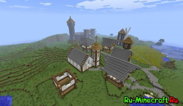 Minecraft. Строим город! Part 13 -- Деревенька !