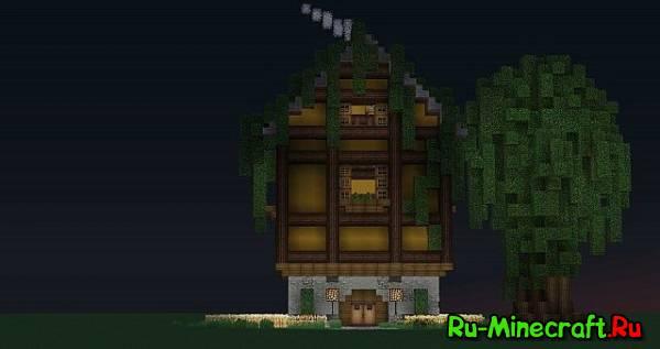 [Map]Hidden Forest House - красивый домик, который наполовину находится в дереве.