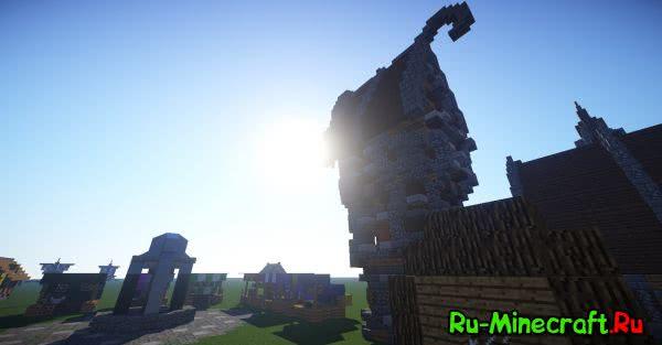 [Map][1.8+] Medieval village - Средневековая Деревня в Плоском Мире!