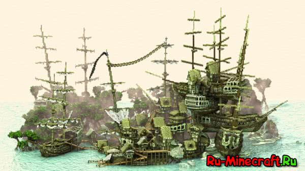 Ship Stack Shanty Town - гавань из кораблей [1.8+][Map]