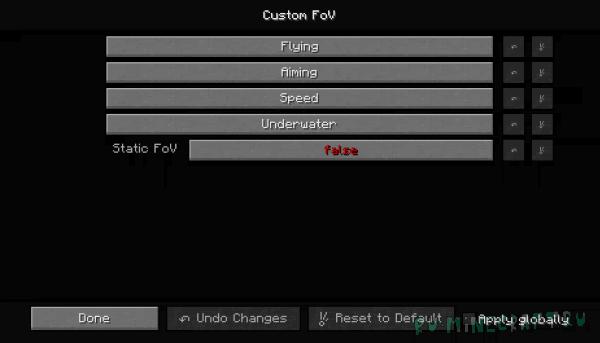 Custom FoV - разный угол обзор [1.16.2] [1.15.2] [1.14.4] [1.13.2] [1.12.2]