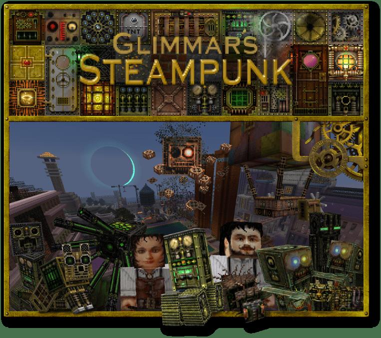 Glimmars Steampunk - текстурпак в стиле стимпанка [1.16.5] [1.15.2] [1.14.4] [1.12.2] [64x]