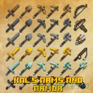 Kal's Arms & Armor - улучшенный вид инструментов и оружия [1.16.5] [1.15.2] [16x]
