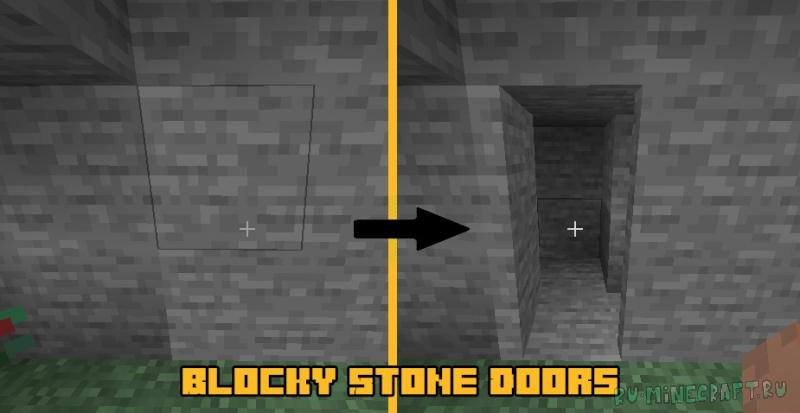 Blocky Stone Doors - скрытные двери из блоков [1.16.5]