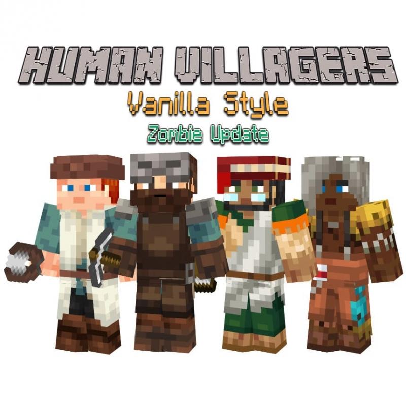 Human Villagers - Vanilla Style - реалистичные текстуры жителей [1.16.5] [16x]