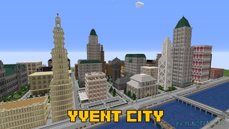 Yvent City - небольшой город с реальными зданиями [1.16.5] [1.15.2]