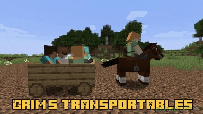 Grim's Transportables - повозки для лошадей и новые рельсы [1.17.1] [1.16.5]