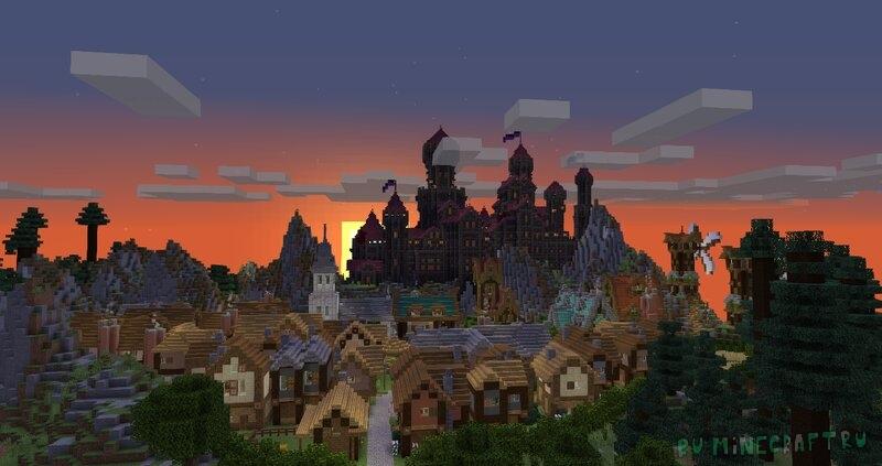 Blackstone Castle - черный замок с деревней [1.16.5]