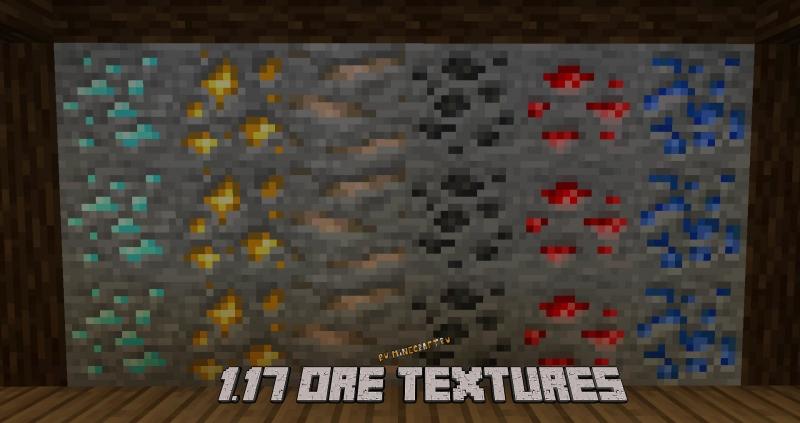 1.17 Ore Textures - текстуры новых руд для старых версий [1.16.5] [1.15.2] [1.14.4] [1.12.2] [1.7.10] [16x]