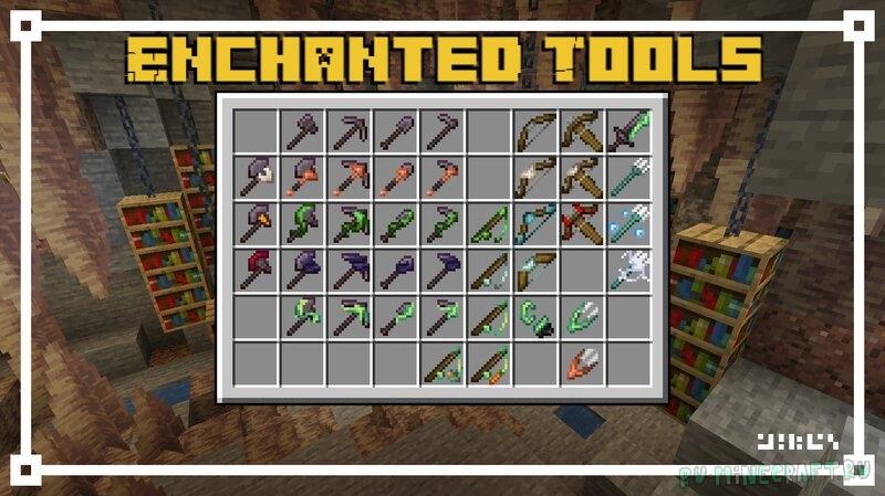 Enchanted Tools - новый внешний вид зачарованных инструментов [1.17.1] [1.16.5] [16x]
