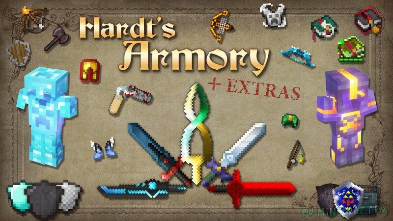Hardt's Armory + Extras - кастомная броня/оружие с зачарованиями [1.17.1] [1.16.5] [16x]