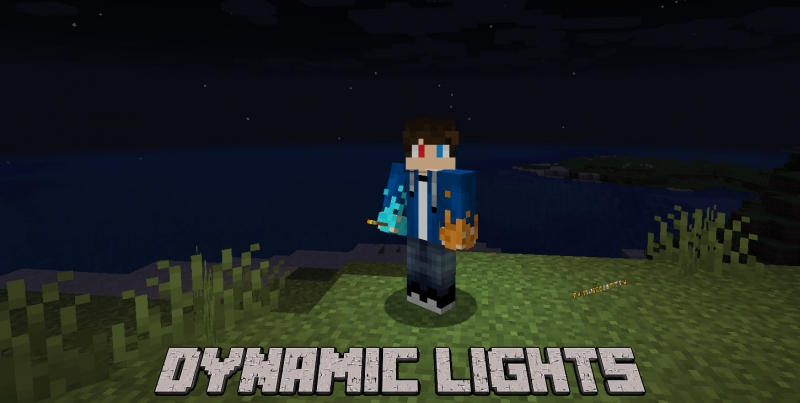 Dynamic Lights - динамический свет, факел светится в руках [1.16.5] [1.12.2] [1.11.2] [1.10.2] [1.7.10]