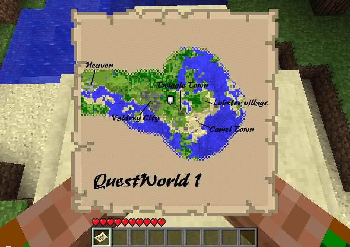Map QuestWorld 1 v1.6 - большая и шикарная карта с квестами!